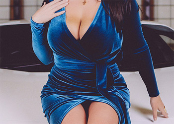 Angela White Blue Suede Dress