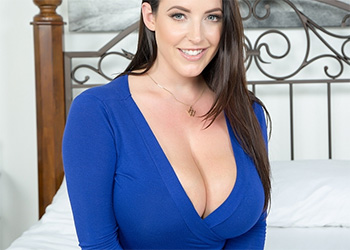 Angela White blue dress big boobs