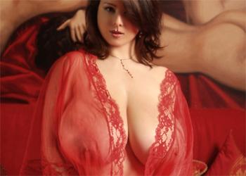 Chloe Vevrier Red Lingerie Goddess