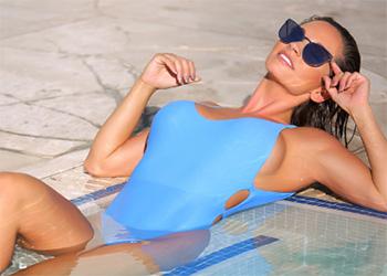 Christy Ann blue bikini