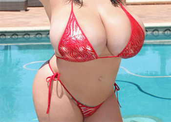 Leanne Crow Tiny Red Bikini