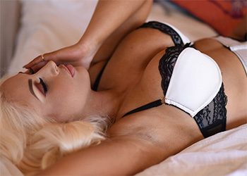 Lucy James sexy white lingerie
