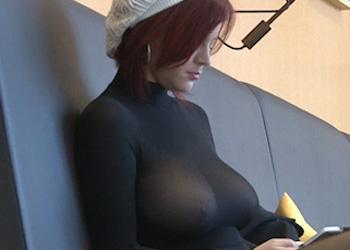 Sheer Top Upskirt Redhead