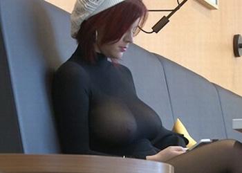 Busty Redhead In Public
