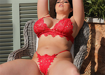 Terri Lou red lingerie curves